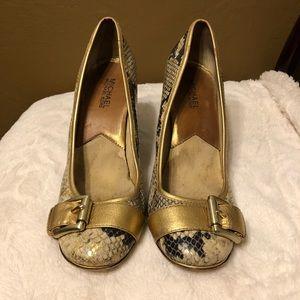 Michael Kors Gold/Black Snakeskin Design Heels